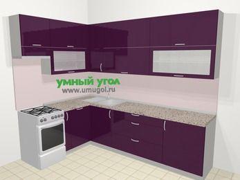 Угловая кухня МДФ глянец в современном стиле 7,2 м², 170 на 270 см, Баклажан, верхние модули 92 см, посудомоечная машина, отдельно стоящая плита