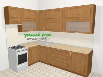 Угловая кухня МДФ патина в классическом стиле 7,2 м², 170 на 270 см, Ольха, верхние модули 92 см, посудомоечная машина, отдельно стоящая плита