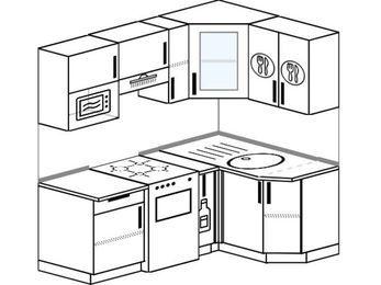 Угловая кухня 5,0 м² (1,8✕1,2 м), верхние модули 72 см, модуль под свч, отдельно стоящая плита