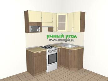Угловая кухня МДФ матовый 5,0 м², 1800 на 1200 мм, Ваниль / Лиственница бронзовая, верхние модули 720 мм, модуль под свч, отдельно стоящая плита