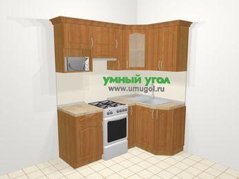 Угловая кухня МДФ матовый в классическом стиле 5,0 м², 180 на 120 см, Вишня, верхние модули 72 см, модуль под свч, отдельно стоящая плита