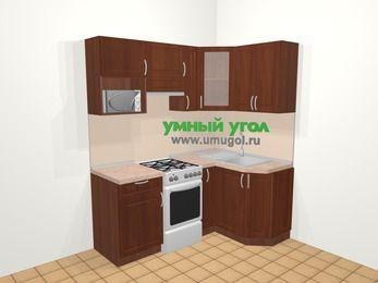 Угловая кухня МДФ матовый в классическом стиле 5,0 м², 180 на 120 см, Вишня темная, верхние модули 72 см, модуль под свч, отдельно стоящая плита