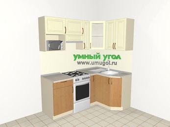 Угловая кухня из МДФ + ЛДСП 5,0 м², 1800 на 1200 мм, Ваниль / Ольха, верхние модули 720 мм, модуль под свч, отдельно стоящая плита
