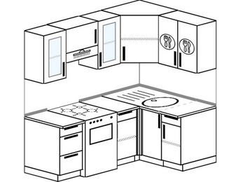 Угловая кухня 5,0 м² (1,8✕1,2 м), верхние модули 720 мм, отдельно стоящая плита