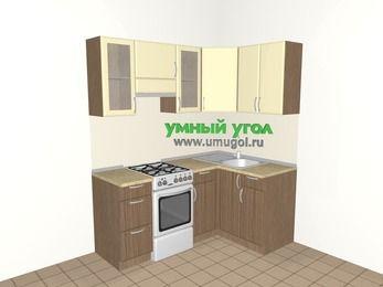 Угловая кухня МДФ матовый 5,0 м², 1800 на 1200 мм, Ваниль / Лиственница бронзовая, верхние модули 720 мм, отдельно стоящая плита