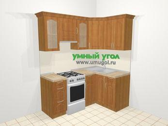 Угловая кухня МДФ матовый в классическом стиле 5,0 м², 180 на 120 см, Вишня, верхние модули 72 см, отдельно стоящая плита