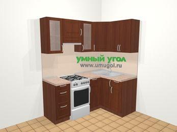 Угловая кухня МДФ матовый в классическом стиле 5,0 м², 180 на 120 см, Вишня темная, верхние модули 72 см, отдельно стоящая плита