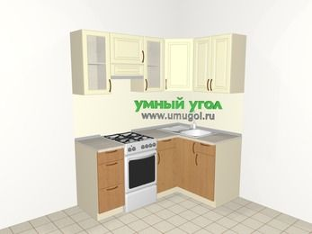 Угловая кухня из МДФ + ЛДСП 5,0 м², 1800 на 1200 мм, Ваниль / Ольха, верхние модули 720 мм, отдельно стоящая плита