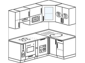Угловая кухня 5,0 м² (1,8✕1,2 м), верхние модули 720 мм, посудомоечная машина, модуль под свч, встроенный духовой шкаф