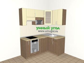 Угловая кухня МДФ матовый 5,0 м², 1800 на 1200 мм, Ваниль / Лиственница бронзовая, верхние модули 720 мм, посудомоечная машина, модуль под свч, встроенный духовой шкаф
