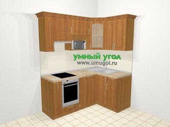 Угловая кухня МДФ матовый в классическом стиле 5,0 м², 180 на 120 см, Вишня, верхние модули 72 см, посудомоечная машина, модуль под свч, встроенный духовой шкаф