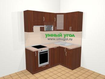 Угловая кухня МДФ матовый в классическом стиле 5,0 м², 180 на 120 см, Вишня темная, верхние модули 72 см, посудомоечная машина, модуль под свч, встроенный духовой шкаф