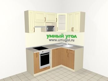 Угловая кухня из МДФ + ЛДСП 5,0 м², 1800 на 1200 мм, Ваниль / Ольха, верхние модули 720 мм, посудомоечная машина, модуль под свч, встроенный духовой шкаф