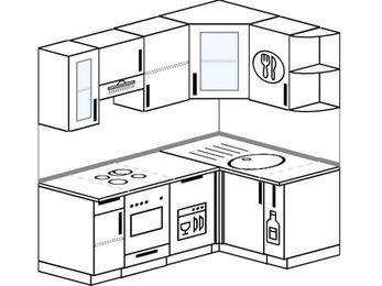 Планировка угловой кухни 5,0 м², 1800 на 1200 мм: верхние модули 720 мм, встроенный духовой шкаф, посудомоечная машина, корзина-бутылочница