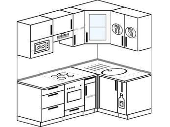 Угловая кухня 5,0 м² (1,8✕1,2 м), верхние модули 72 см, модуль под свч, встроенный духовой шкаф