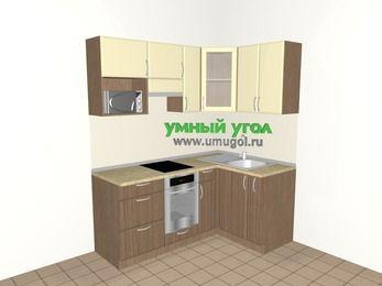 Угловая кухня МДФ матовый 5,0 м², 1800 на 1200 мм, Ваниль / Лиственница бронзовая, верхние модули 720 мм, модуль под свч, встроенный духовой шкаф
