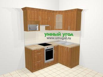 Угловая кухня МДФ матовый в классическом стиле 5,0 м², 180 на 120 см, Вишня, верхние модули 72 см, модуль под свч, встроенный духовой шкаф