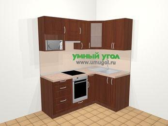 Угловая кухня МДФ матовый в классическом стиле 5,0 м², 180 на 120 см, Вишня темная, верхние модули 72 см, модуль под свч, встроенный духовой шкаф