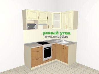 Угловая кухня из МДФ + ЛДСП 5,0 м², 1800 на 1200 мм, Ваниль / Ольха, верхние модули 720 мм, модуль под свч, встроенный духовой шкаф