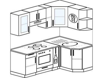 Угловая кухня 5,0 м² (1,8✕1,2 м), верхние модули 72 см, встроенный духовой шкаф