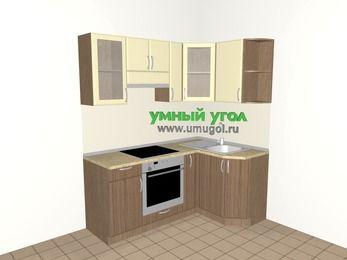 Угловая кухня МДФ матовый 5,0 м², 1800 на 1200 мм, Ваниль / Лиственница бронзовая, верхние модули 720 мм, встроенный духовой шкаф