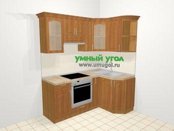 Угловая кухня МДФ матовый в классическом стиле 5,0 м², 180 на 120 см, Вишня, верхние модули 72 см, встроенный духовой шкаф