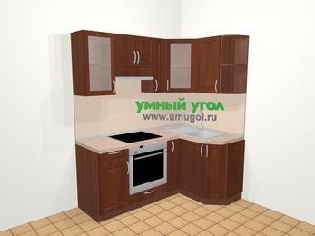 Угловая кухня МДФ матовый в классическом стиле 5,0 м², 180 на 120 см, Вишня темная, верхние модули 72 см, встроенный духовой шкаф