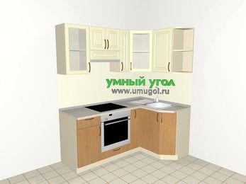 Угловая кухня из МДФ + ЛДСП 5,0 м², 1800 на 1200 мм, Ваниль / Ольха, верхние модули 720 мм, встроенный духовой шкаф