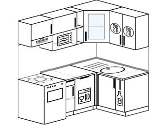 Угловая кухня 5,0 м² (1,8✕1,2 м), верхние модули 72 см, посудомоечная машина, модуль под свч, отдельно стоящая плита