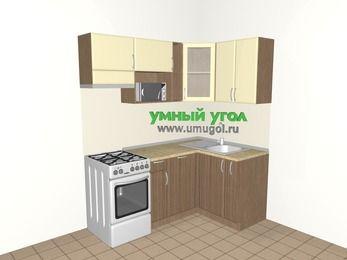 Угловая кухня МДФ матовый 5,0 м², 1800 на 1200 мм, Ваниль / Лиственница бронзовая, верхние модули 720 мм, посудомоечная машина, модуль под свч, отдельно стоящая плита