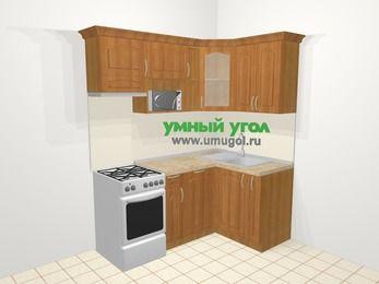 Угловая кухня МДФ матовый в классическом стиле 5,0 м², 180 на 120 см, Вишня, верхние модули 72 см, посудомоечная машина, модуль под свч, отдельно стоящая плита