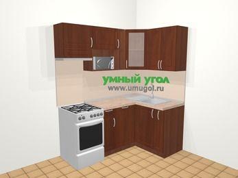 Угловая кухня МДФ матовый в классическом стиле 5,0 м², 180 на 120 см, Вишня темная, верхние модули 72 см, посудомоечная машина, модуль под свч, отдельно стоящая плита