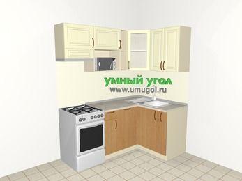Угловая кухня из МДФ + ЛДСП 5,0 м², 1800 на 1200 мм, Ваниль / Ольха, верхние модули 720 мм, посудомоечная машина, модуль под свч, отдельно стоящая плита