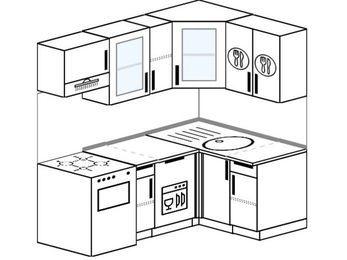 Угловая кухня 5,0 м² (1,8✕1,2 м), верхние модули 72 см, посудомоечная машина, отдельно стоящая плита