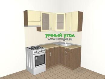Угловая кухня МДФ матовый 5,0 м², 1800 на 1200 мм, Ваниль / Лиственница бронзовая, верхние модули 720 мм, посудомоечная машина, отдельно стоящая плита