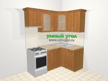 Угловая кухня МДФ матовый в классическом стиле 5,0 м², 180 на 120 см, Вишня, верхние модули 72 см, посудомоечная машина, отдельно стоящая плита