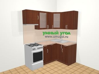 Угловая кухня МДФ матовый в классическом стиле 5,0 м², 180 на 120 см, Вишня темная, верхние модули 72 см, посудомоечная машина, отдельно стоящая плита