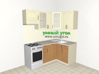 Угловая кухня из МДФ + ЛДСП 5,0 м², 1800 на 1200 мм, Ваниль / Ольха, верхние модули 720 мм, посудомоечная машина, отдельно стоящая плита
