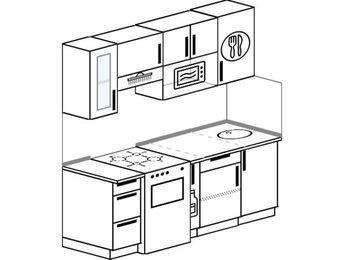 Планировка прямой кухни 5,0 м², 180 см: верхние модули 72 см, отдельно стоящая плита, корзина-бутылочница, модуль под свч