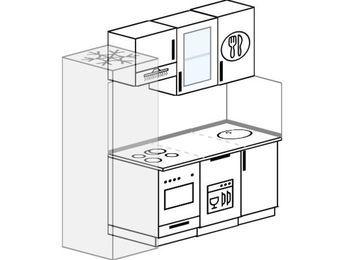 Планировка прямой кухни 5,0 м², 180 см: верхние модули 72 см, холодильник, встроенный духовой шкаф, посудомоечная машина