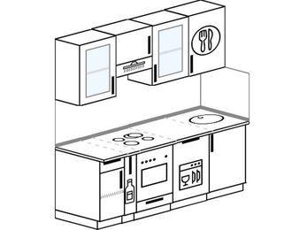 Планировка прямой кухни 5,0 м², 180 см: верхние модули 72 см, корзина-бутылочница, встроенный духовой шкаф, посудомоечная машина