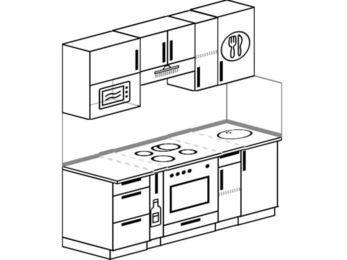 Планировка прямой кухни 5,0 м², 180 см: верхние модули 72 см, корзина-бутылочница, встроенный духовой шкаф, верхний модуль под свч