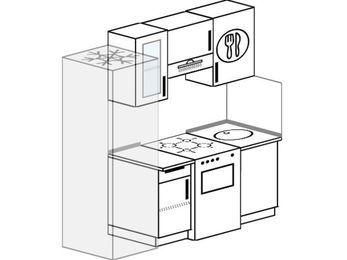 Планировка прямой кухни 5,0 м², 180 см: верхние модули 72 см, холодильник, отдельно стоящая плита