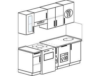 Планировка прямой кухни 5,0 м², 180 см: верхние модули 72 см, отдельно стоящая плита, корзина-бутылочница, посудомоечная машина