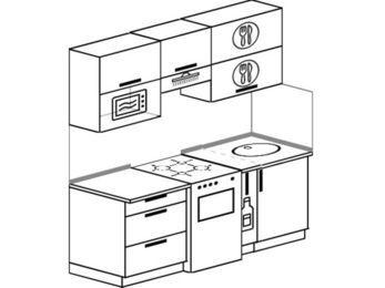 Прямая кухня 5,0 м² (1,8 м), верхние модули 72 см, верхний модуль под свч, отдельно стоящая плита