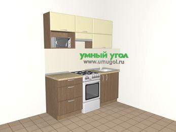 Прямая кухня МДФ матовый 5,0 м², 1800 мм, Ваниль / Лиственница бронзовая, верхние модули 720 мм, верхний модуль под свч, отдельно стоящая плита