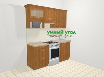 Прямая кухня МДФ матовый в классическом стиле 5,0 м², 1800 мм, Вишня, верхние модули 720 мм, верхний модуль под свч, отдельно стоящая плита