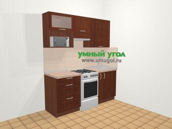 Прямая кухня МДФ матовый в классическом стиле 5,0 м², 180 см, Вишня темная, верхние модули 72 см, верхний модуль под свч, отдельно стоящая плита