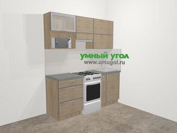 Кухни из пластика в стиле лофт 5,0 м², 180 см, Чибли бежевый, верхние модули 72 см, верхний модуль под свч, отдельно стоящая плита
