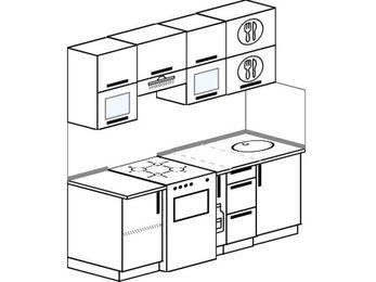 Прямая кухня 5,0 м² (1,8 м), верхние модули 720 мм, отдельно стоящая плита